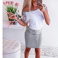 PMJAdd8s4 Women Short sleeve Lace Solid Dress Ladies Casual Mini Dress