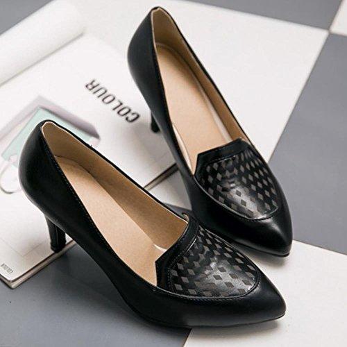 COOLCEPT Femmes Basic Slip on Bureau Robe Court Chaussures Mince talons hauts Escarpins Noir