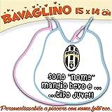 Bavaglino Bavetta Bambino/a personalizzato con nome foto Collezione Calcio JUVENTUS (AZZURRO)