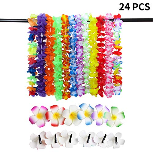 ResPai 24 Stück Hawaii Blumen Halskette Set, Hawaiian Hula Luau Leis Blumen Girlande Haarspange Haarclip Plumeria Haarschmuck Tropische Hawaiikette Deko Blumenketten kostüm Hawaii Luau Party Favors (Hawaiian Kostüm Für Party)