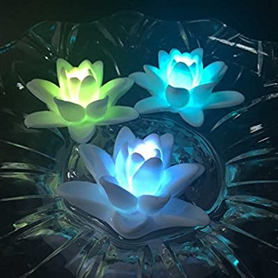 Atcket (Pack of 4) Battery-powered Color Changing LED Waterproof Floating Lily Flower Night Light Flameless Candles from Atcket