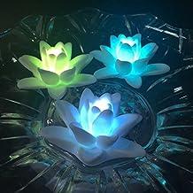atcket (Conjunto de 4) batería de zooms Color?ndernde LED de Impermeable de flores Lirios flotantes de luz nocturna sin llama vela