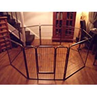 BUNNY BUSINESS Heavy Duty Dog Run Puppy Play Pen Whelping Cage Pet Enclosure, Large