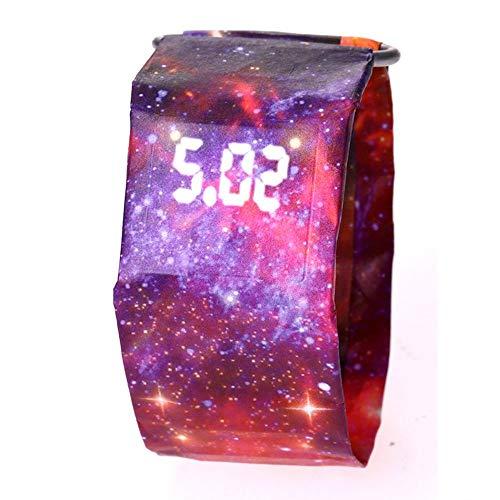 Erduo Kreative Papieruhr LED Wasserdichte und verschleißfeste elektronische Uhr - Red Starry Sky