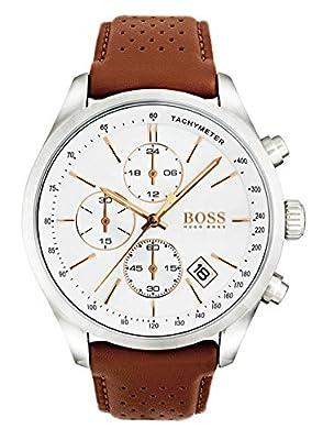 HUGO BOSS 1513475 Men Chronograph Quartz Watch with Leather Strap, White