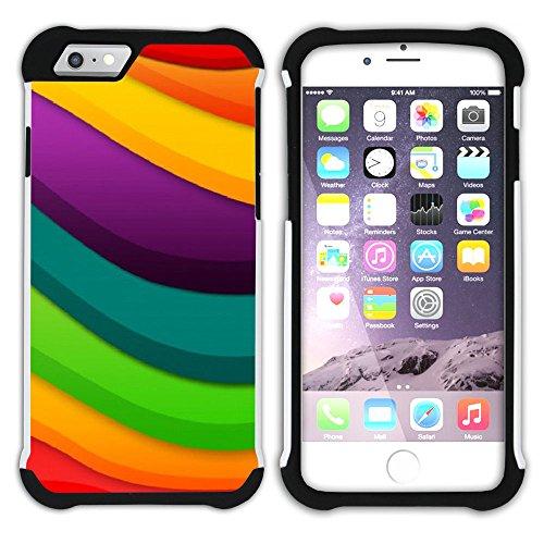 Graphic4You Regenbogen Farben Hart + Weiche Kratzfeste Hülle Case Schale Tasche Schutzhülle für Apple iPhone 6 / 6S Design #22