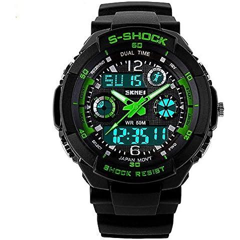So Ver impermeable moda hombres LCD Digital Cronómetro Cronógrafo Alarma de Fecha Casual Deportes Correr reloj de pulsera 2tiempo zona, color verde