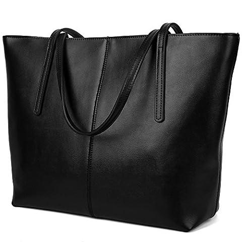 Yaluxe Women's Simple Genuine Leather Designer Inspired Top Handle Handbag Tote Bags