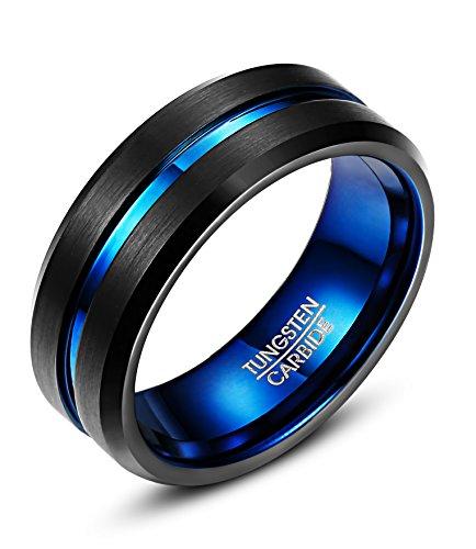 BE STEEL 8MM Wolframcarbid Ring für Herren Damen Finish Beveled Grooved Ehering Verlobungsring Schwarz und Blau Ring Tungsten Fashion Schmuck us8