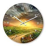 Wanduhr mit Motiv - Weide - aus Echt-Glas | runde Küchen-Uhr | große Uhr modern