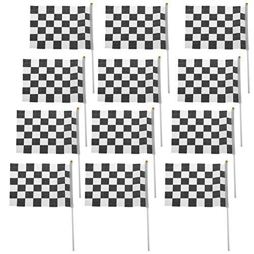 AAGOOD 12 Zielflaggen Klare Farben UV-Fade Racing Polyester mit Kunststoff-Sticks Fahnen für den Rennsport, Renn Parteien, Sportveranstaltungen Racing