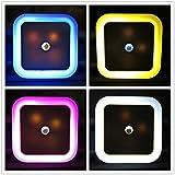 4 Unidades 0.5W Lámpara Noctura Led, NATIONALMATER Luz Nocturna de Pared para Bébe, Led Noche Sensor de Luz, Night Light de Interior-4 colores