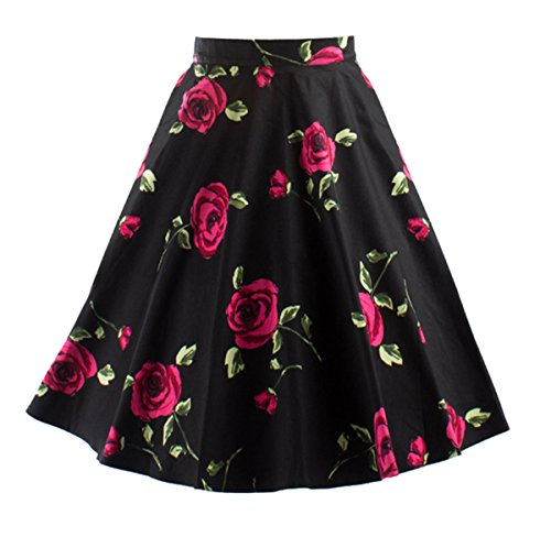 Ecollection Damen Audrey Hepburn 50s Retro vintage Bubble Skirt Rockabilly Swing Röcke (M, Rot Rose) (Skirt Bubble)