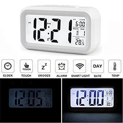 Audew Réveil Silencieux LED Digital Horloge Alarm Rétro-éclairage Date Affichage Température Pour Maison Voiture Voyage Bureau Blanc