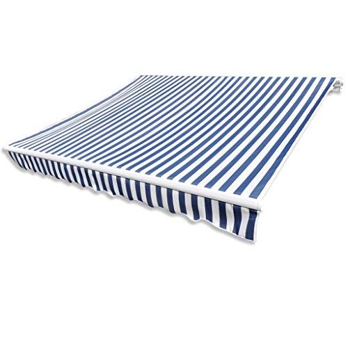 Tidyard Store Banne Manuel de Jardin en Toile Bleu et Blanc Résistant aux UV 3 x 2,5 m (Cadre Non Inclus)