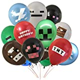 """Pixel Style Miner Party Balloon Pack (24 count) - 12"""" Latex Balloons with Double Sided Designs - Green Zombie/Creeper Monsters, Blue Cloud, Red TNT, Brown Cow, White Ghost, Black Ender Monster/Spider"""