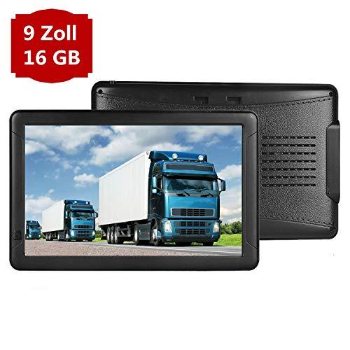 GPS Navigation für Auto, Aonerex 9 Zoll Touchscreen Navigationsgerät für LKW PKW KFZ 16GB 256MB Navi mit POI Blitzerwarnung Sprachführung Fahrspur Lebenslang Kostenloses Kartenupdate EU 52 Karten