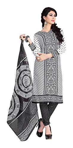 Saranya Sarees Women's Cotton Unstitched Dress Material (Black)
