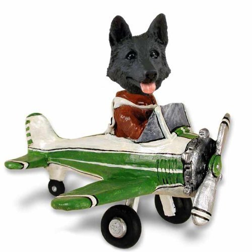 German Shepherd Black Airplane Doogie Collectable Figurine by CON -