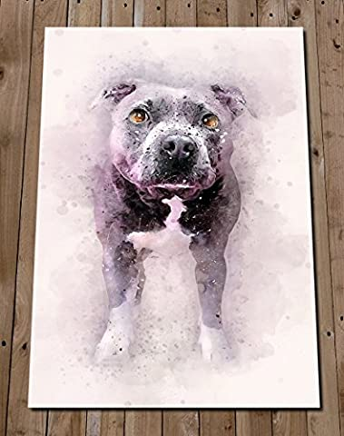Blue STAFFORDSHIRE BULL TERRIER Art Print - Wall Decor Watercolour Painting - Staffy Poster - Pit Bull - Bull Terrier Gifts - House Warming