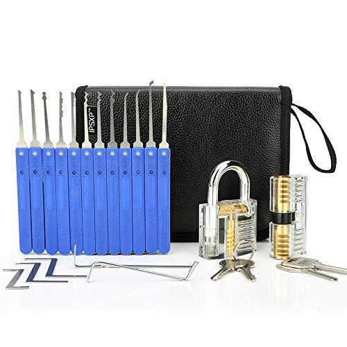 Lockpicking Set, IPSXP 17 Stück Dietrich Set und 2 Stück Transparent Training Schlössern mit Ledertasche, Extractor Tool für Schlosserei, Anfänger und Profisrleicht
