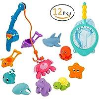 ANPHSIN 12 Stück Badespielzeug, Bad Angeln Spielzeug mit Schwimmenden Fisch, Magnetic Angelrute und Net - Baby Badewanne Spielzeug im Badewanne für Baby und Kleinkinder preisvergleich bei kleinkindspielzeugpreise.eu