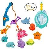 ANPHSIN 12 Stück Badespielzeug, Bad Angeln Spielzeug mit Schwimmenden Fisch, Magnetic Angelrute und Net - Baby Badewanne Spielzeug im Badewanne für Baby und Kleinkinder