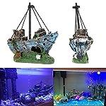 Kfnire Resin Fishing Boat Aquarium Ornament Plastic Decoration Plant for Fish Tank Accessories 10