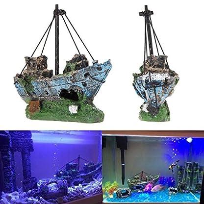 Kfnire Resin Fishing Boat Aquarium Ornament Plastic Decoration Plant for Fish Tank Accessories 3