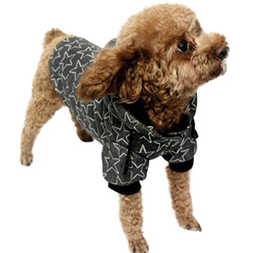 FakeFace Hundemantel Hundejacke aus Baumwolle Sterne Motiv Hundepullover mit Kapuze Hunde Winter Herbst warme Hundebekleidung Hunde Kostüm Kleidung- Gr. M, (Kleine Kostüme Amigo)
