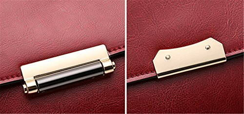 Xinmaoyuan Handtaschen der Frauen Öl Wachs Rindsleder weiblichen Handtasche Leder Wild Schulter Obliquer Querschnitt weiblichen Bag reine Farbe Querschnitt quadratischen Deckel Tasche, Braun Rot