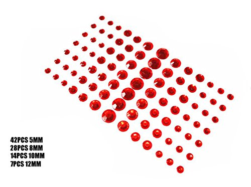 91PCS 4 Sizes Glänzende Selbstklebende Craft Jewels Flatback Augenbraue Lidschatten Körper Augen Nägel Glitter Aufkleber (Red)