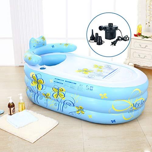 Bañera de baño inflable PVC Baño de bañera para adultos portátil SPA con bomba de aire eléctrica, Piscinas portátiles para niños en la piscina infantil azul, Bañera inflable Piscina para bebés