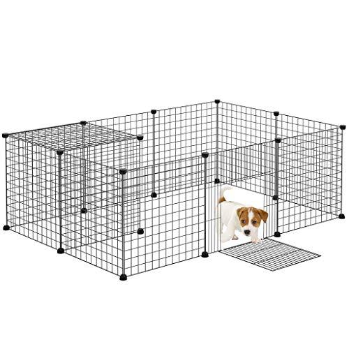 Rackaphile 【12 pcs Welpenauslauf Metall, Laufstall Laufgitter mit Tür (28,8 x 32,8 cm), 50 x 50 cm, freie Kombination, geeignet für Hunde/Kaninchen/Katzen, schwarz
