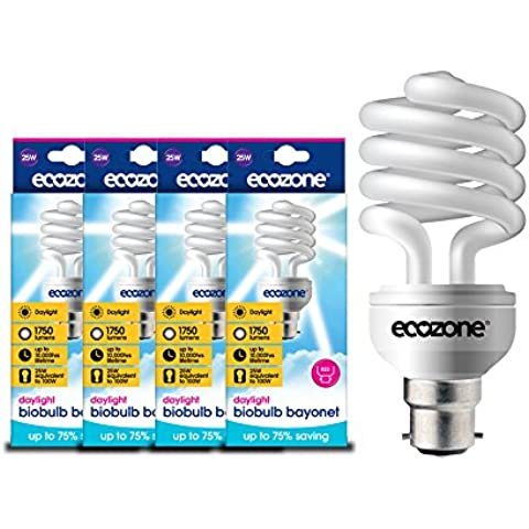Ecozone Biobulb (Confezione da 4), luce Lampadina a risparmio energetico, attacco a baionetta B22, 25W equivalente a 100W, 1750lumen, Full Spectrum, Daylight Bianco 6500K, Utilizza 75% di energia in meno, ideale per suffers di S.A.D–Confezione da