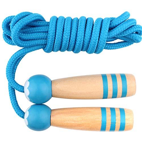 QFUN Kinder Springseil, Rope Skipping Seil Einstellbare Baumwolle Speed Rope mit Natürlichen Holzgriff für Jungen Und Mädchen Fitness, Springen Übung Länge 250cm