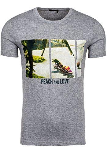BOLF T-shirt Figurbetont Kurzarm GLO STORY 7456 Anthrazit XXL [3C3]  