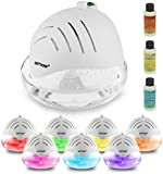 AMOS Air Fresh Purifier Freshener Cleaner Ioniser with Colour Changing LED Light & 3 x 30ml Fragrances Essence Aroma (White)