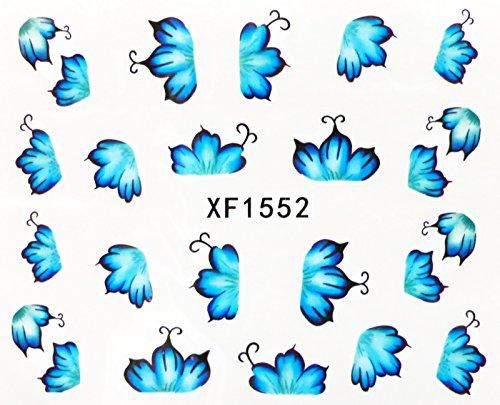Nail art - Stickers décalcomanie - motifs feuilles bleues