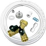 Wasserzulaufleitung Anschluss Set für Kühlschrank SBS, Wasch- Spülmaschine 10m Wasserschlauch 1/4' 2-Wege Y-Verteiler Anschluß 3/4'