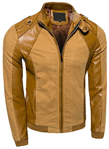 Jeansian Hommes Manteau Veste en cuir Manches Longues Leather Jacket Coat Men Fashion Stitching Motorcycle Leather Jacket 9416 Orange