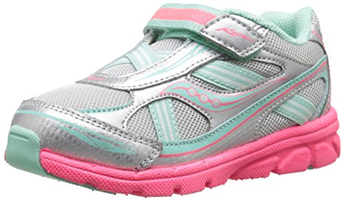 Saucony Girls' Baby Ride Sneaker (Toddler/Little Kid), Silver/Turqoise, 5 XW US Toddler -