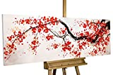 KunstLoft® Acryl Gemälde 'Cherrytree Alley' 150x50cm | original handgemalte Leinwand Bilder XXL | Kirschblüten Baum Rot Blüten | Wandbild Acrylbild moderne Kunst einteilig mit Rahmen