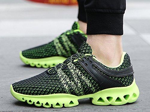 IIIIS-R Herren Damen Laufschuhe Sportschuhe Leicht Turnschuhe Gute Qualität Sneaker Schwarz Grün