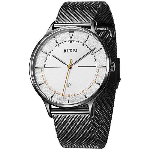 BUREI Unisex dünnes minimalistische Armband-Uhr mit großem Zifferblatt Kalender Mineralglas anthrazitfarbenes Webe-Armband