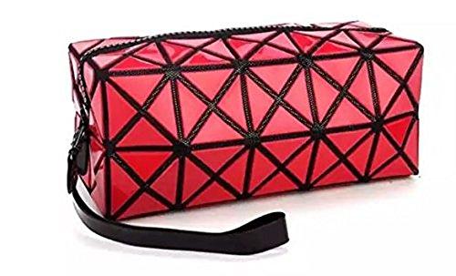 Ducomi® PRISM POUCH Super Geometrische Reise Falt Reisetasche - Abmessungen: 21 x 9,5 x 8,5 cm (Red) (Trolley-make-up Veranstalter)