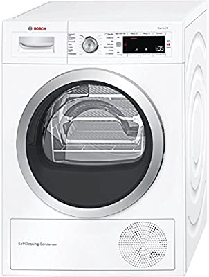 Bosch Serie 8 WTW845W0ES Independiente Carga frontal 8kg A+++ Color blanco - Secadora (Independiente, Carga frontal, Bomba de calor, A+++, Color blanco, B)