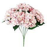 Wensltd 7 Heads Flower for Wedding Ceremony Decorated Artificial Hydrangea Silk Decor (Green) (Pink)