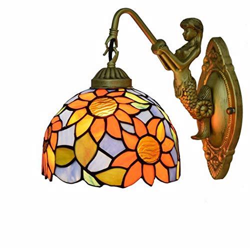 Sun Flower Pattern Glasmalerei Wandleuchte, 7,9 Zoll Tiffany Style Wandleuchte dekorative Leuchten für Schlafzimmer Nacht Korridor, E27, 110-240V