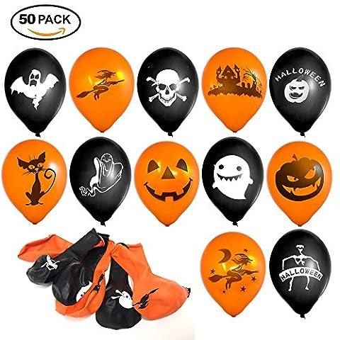 50 ballons en latex de fête d'Halloween - Orange et noir - Décoration parfaite pour les soirées - Haute qualité